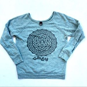 Obey • Green Scoop Neck Pullover Size Small